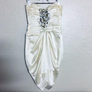 BEBE Beige/Cream Strapless Dress